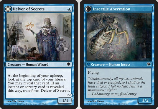 Delver of Secrets / Insectile Aberration | Magic: The Gathering Card