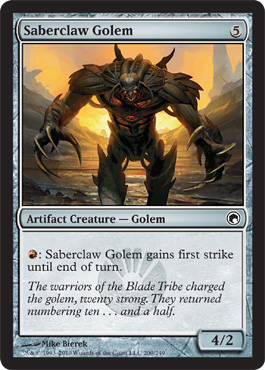 Saberclaw Golem | Magic: The Gathering Card